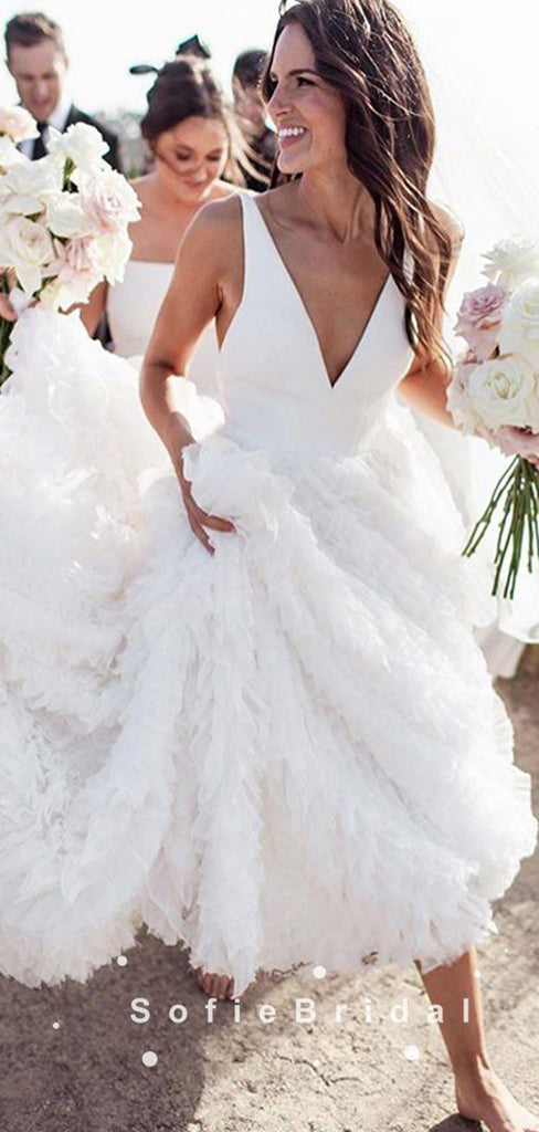 New Arrival A-Line V-Neck Sleeveless White Long Wedding Dresses,SFWD0014