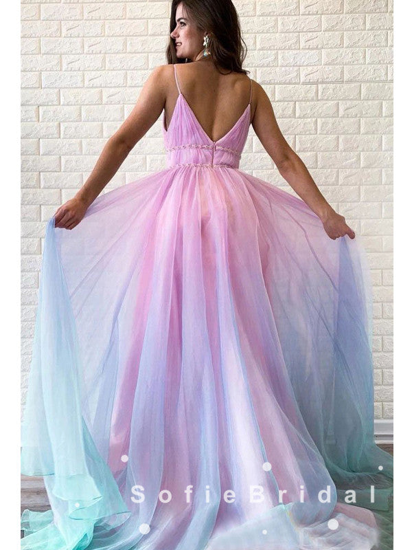 Alluring A-Line V-Neck Spaghetti Straps Ombre Chiffon Long Prom Dresses With Pleats,SFPD0014