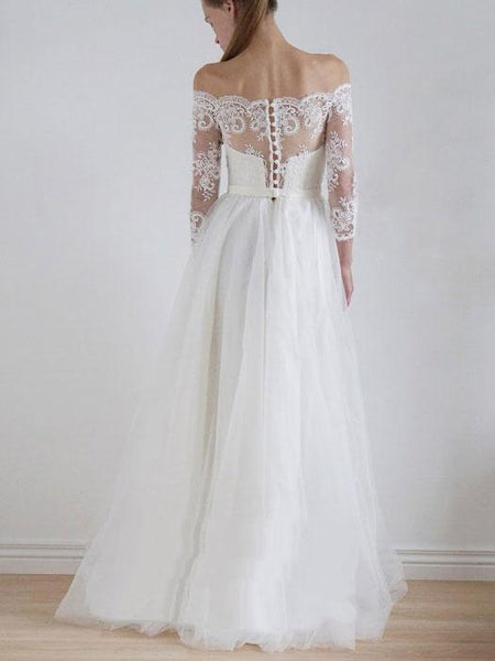 Off Shoulder Long Sleeve Lace A-line Cheap Wedding Dresses Online, WD336