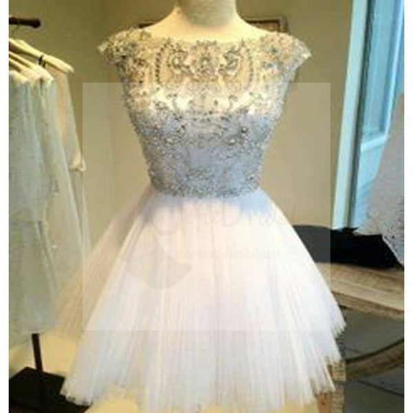 White mismatched cap sleeve sparkly mini for teens casual homecoming prom dresses, BD00140