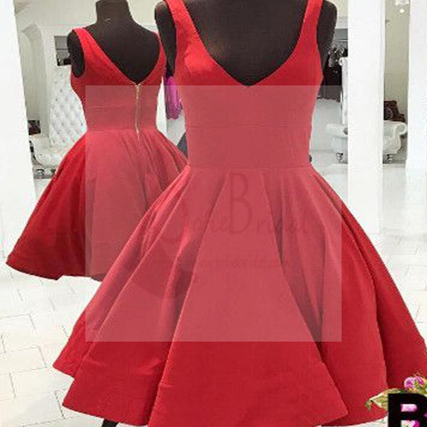 Simple Design V-neck Red Jersey Zip Up Homecoming Dresses, SF0057