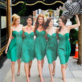 Simple Cheap Chiffon Sweet Heart Knee Length Green Bridesmaid Dresses for Summer Beach Wedding Party, WG141
