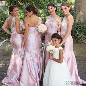 One Shoulder Lace Top Satin Pink Mermaid Bridesmaid Dresses, PD0309