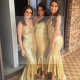 Shinning Gold Sequin Sweet Heart Mermaid Sexy Cheap Custom Make Handmade Long Bridesmaid Dresses, WG144