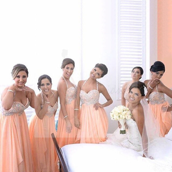 Beatiful Junior Young Girls Halter Sweet Heart Chiffon Inexpensive Long Bridesmaid Dresses for Wedding Party, WG145