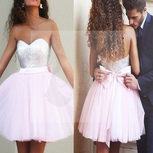 Popular sparkly pale pink sweetheart cute homecoming prom dresses, SF0017