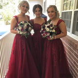 Maroon Strap  Long A-line Lace Tulle Bridesmaid Dresses, PD0249
