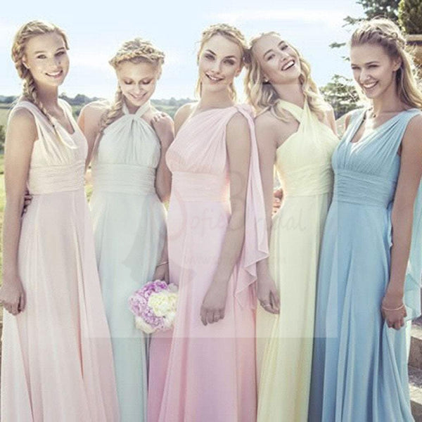 5fc6f9a86b5 Junior Young Girls Simple Cheap Chiffon Convertible Mismatched Styles  Different Colors Long Formal Bridesmaid Dresses for