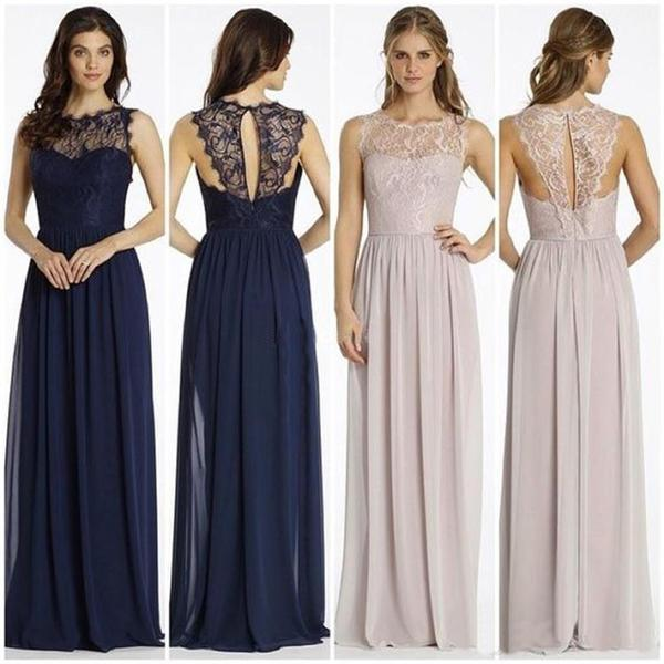 Round Neckline Illusion Lace Top Chiffon A-line Bridesmaid Dresses, Popular Wedding Guest Dresses, PD0313