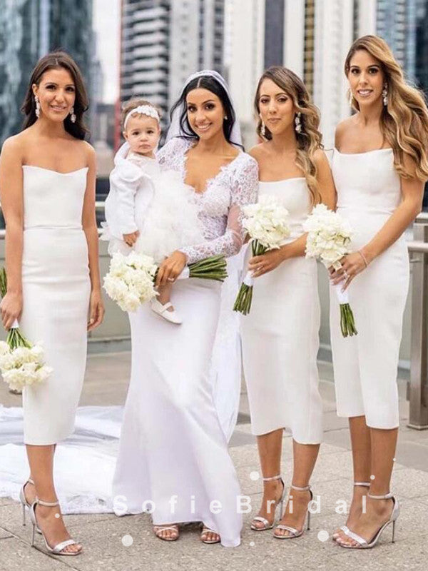Mermaid Strapless White Tea Length Bridesmaid Dresses,SFWG0014