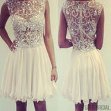 Ivory sleeveless see through gorgeous rhinestone chiffon homecoming dresses, SF0081