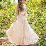 2 Pieces Sequin Top  Chiffon Skirt Flower Girl Dresses, Junior Bridesmaid Dresses, FG059