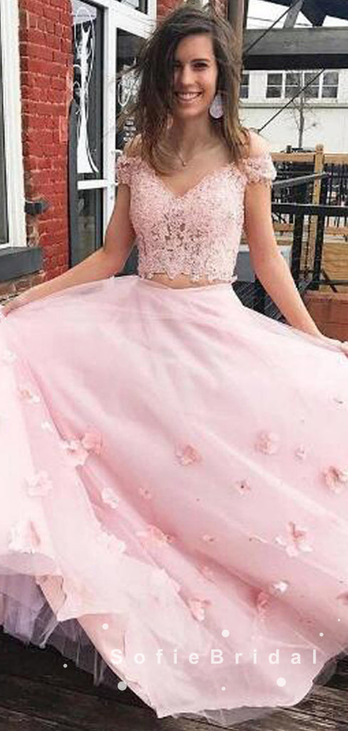 A-Line Off The Shoulder Two Piece Pink Tulle Long Prom Dresses With Lace,SFPD0015