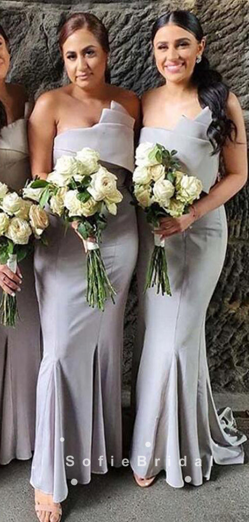 Mermaid Strapless Grey Cheap Sweep Train Bridesmaid Dresses,SFWG0015