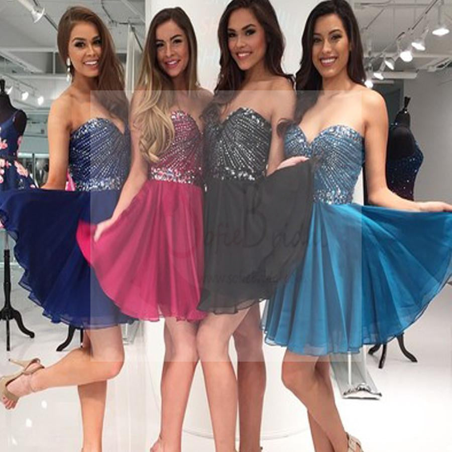 Sweetheart sparkly rhinestone beaded homecoming dresses, short prom dress, SF0018