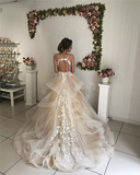 V-neck Lace Tulle Elegant Wedding Dresses, Bridal Gown, WD0285