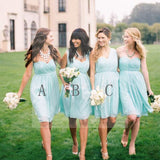 Chiffon Mismatched Simple Styles Junior Knee Length Blue Cheap Short Wedding Party Dresses, WG157