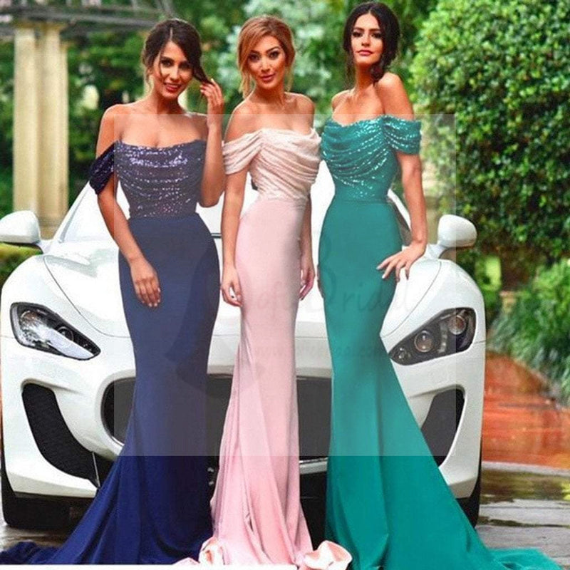 New Design Sexy Mermaid Off Shoulder Sequin Top Bridesmaid Dresses for Wedding