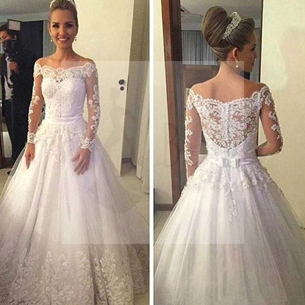 Cheap Vantage Off Shoulder Long Sleeve White Lace Tulle Wedding Party Dresses, WD0015