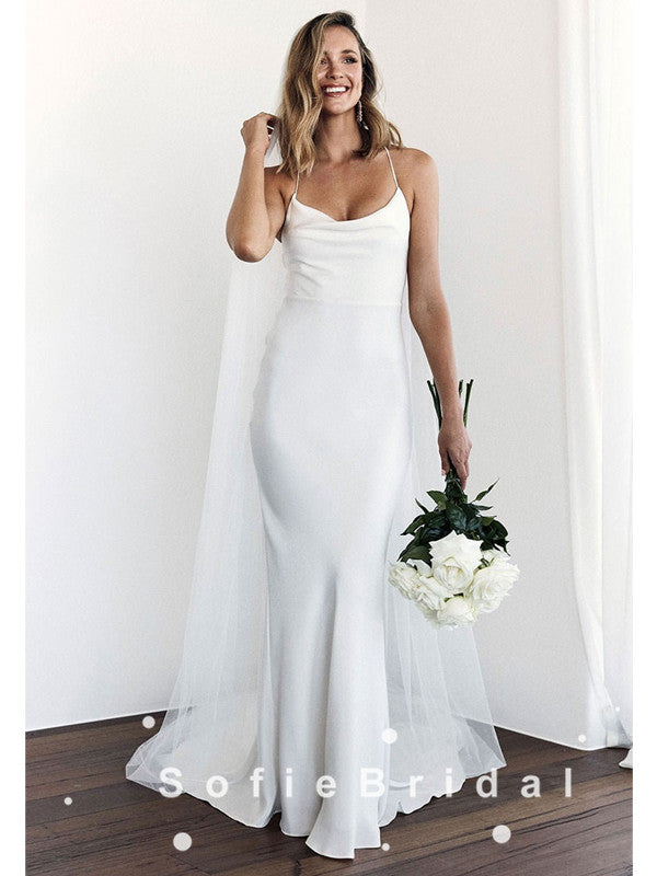 Mermaid Spaghetti Straps Simple Cheap Floor Length Wedding Dresses Online,SFWD0015