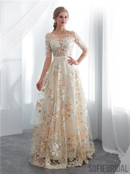 A-line Floor-length 3/4 Sleeves See-though Embroidery Wedding Dresses, WD0466