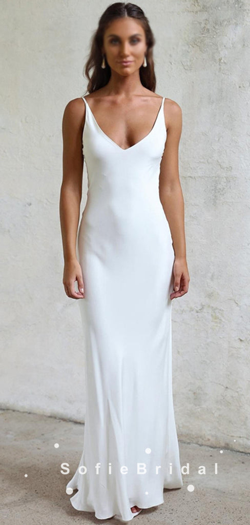 Sheath V-Neck Spaghetti Straps Cheap Long Beach Wedding Dresses,SFWD0016