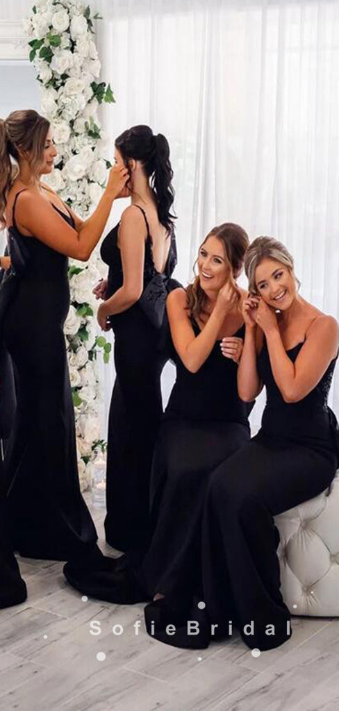 Mermaid Spaghetti Straps Black Long Bridesmaid Dresses With Bow Knot,SFWG0016