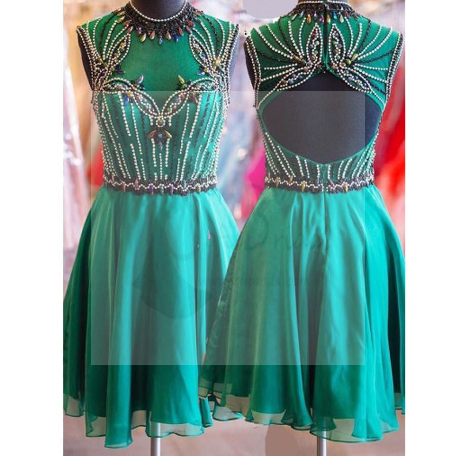 Short turquoise high neck open back vintage unique style homecoming prom dresses, BD00161