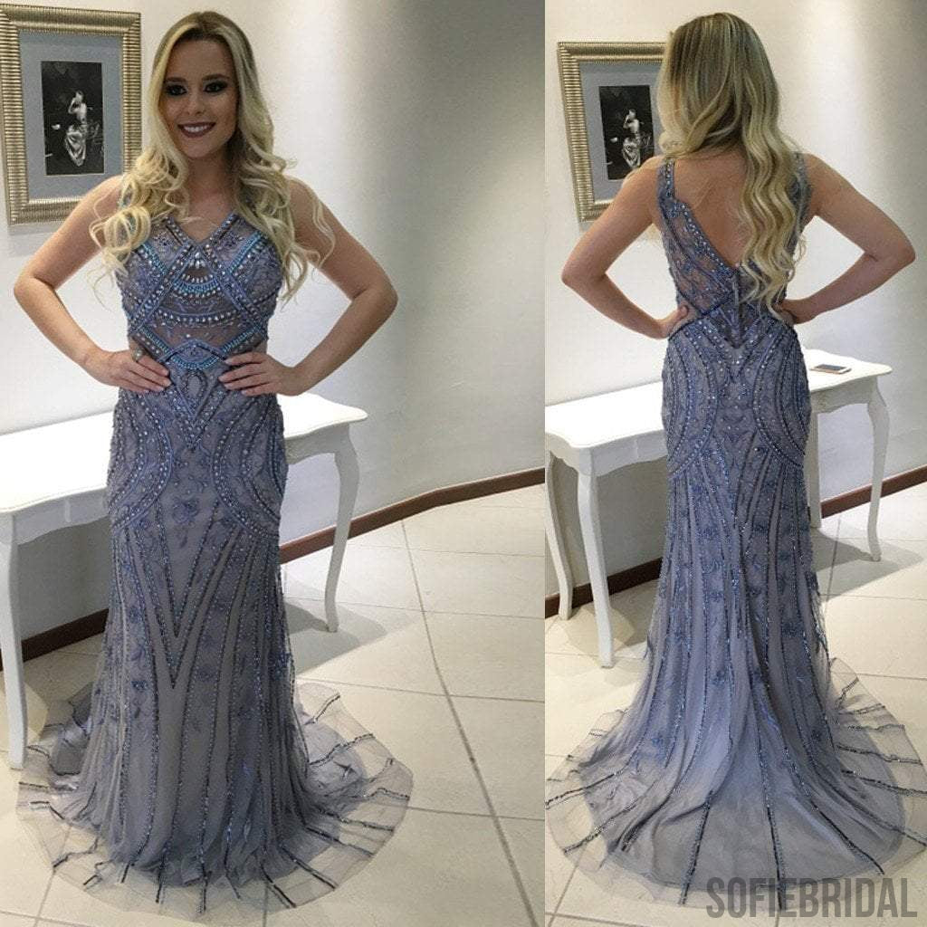 Gorgeous V-Neck Rhinestone Beaded Long Mermaid Tulle Prom Dresses, PD0253