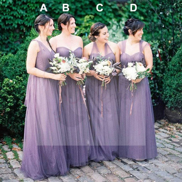 Convertiable Mismatched Tulle Wedding Party Dresses Cheap Charming Bridesmaid Dresses