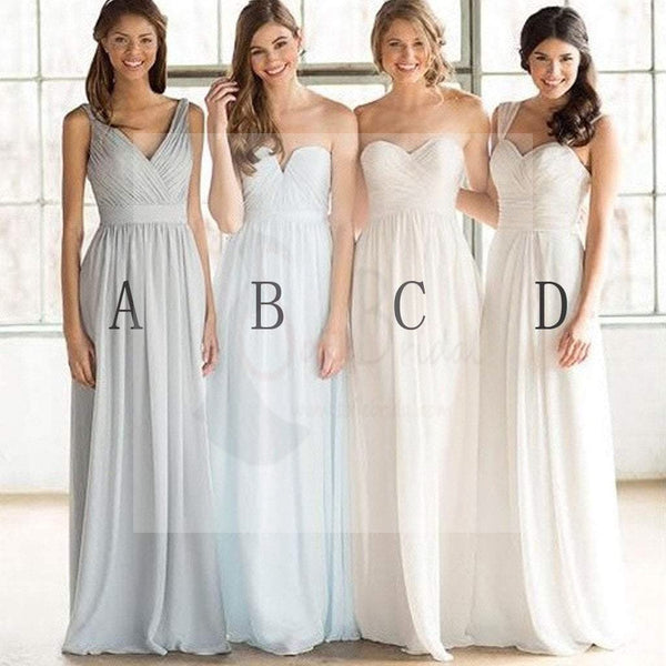 Mismatched Cheap Simple Formal Chiffon Floor-Length A Line Maxi Bridesmaid Dresses, WG169