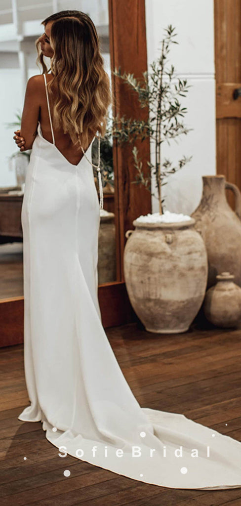 Simple Sheath V-Neck Spaghetti Straps Cheap Long Wedding Dresses,SFWD0017