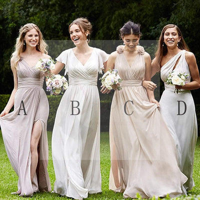 Mismatched Pretty Cheap Chiffon Side Split Full Length High Quality Custom Bridesmaid Dresses