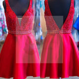 Sexy V-neck Red Satin Beaded Homecoming Prom Dresses, SF0056