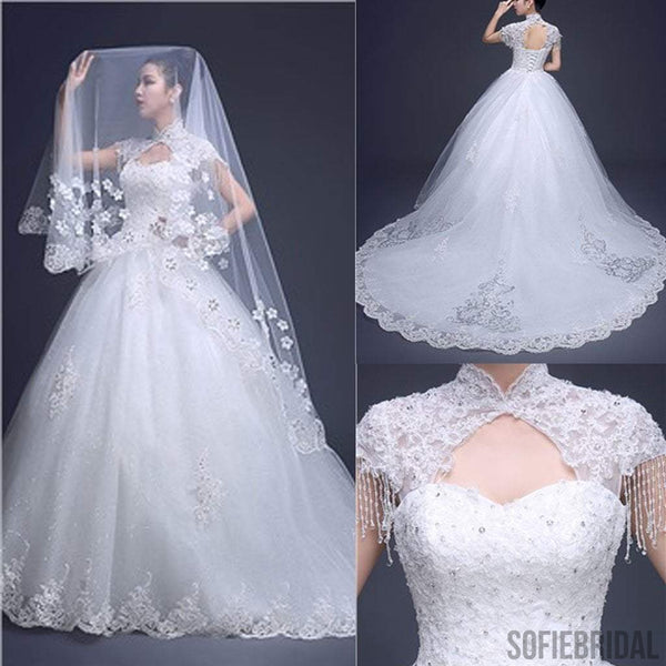 Charming High Neck Cap Sleeve Long A-line Open Back Lace Tulle Wedding Dresses, WD0171