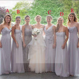 Chiffon Mismatched Different Styles Floor Length Cheap Wedding Guest Bridesmaid Dresses, WG172
