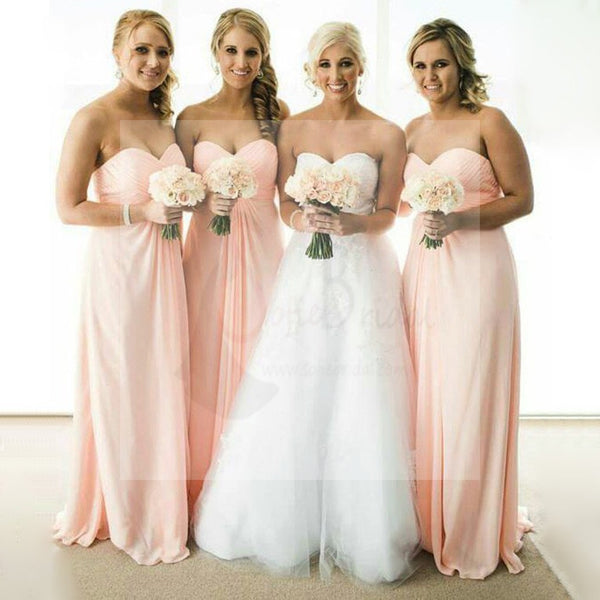 Simple Cheap Chiffon Sweet Heart Formal A Line Floor-Length Wedding Party Bridesmaid Dresses, WG173