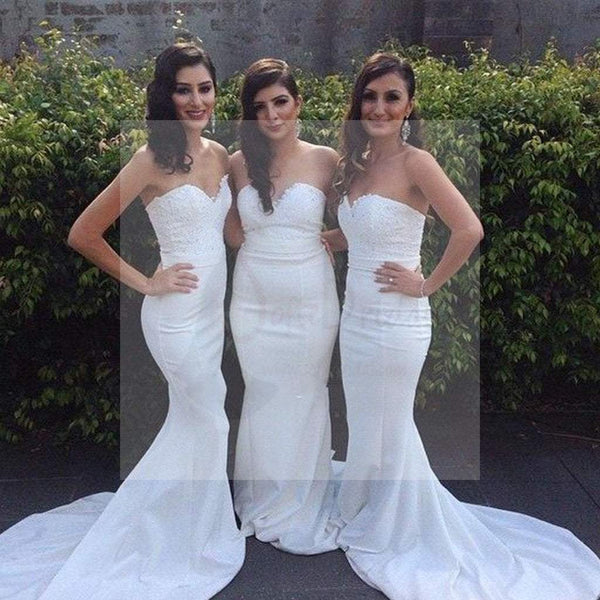 Beautiful White Sweet Heart Mermaid Sexy Inexpensive Wedding Party Guest Bridesmaid Dresses, WG176