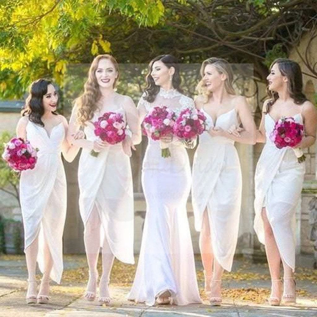 Sexy White Chiffon Side Split Spaghetti Tea Length Cheap Bridesmaid Dresses