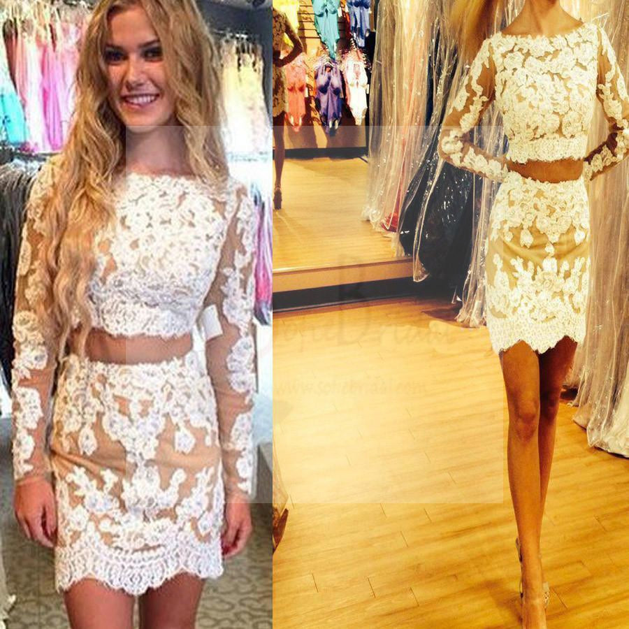 9ccb81b53df Long sleeve lace two pieces tight cheap homecoming prom dresses ...