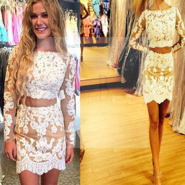 Long sleeve lace two pieces tight cheap homecoming prom dresses, BD00177
