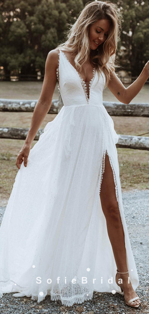 A-Line V-Neck Spaghetti Straps Lace Long Beach Wedding Dresses With Slit,SFWD0018