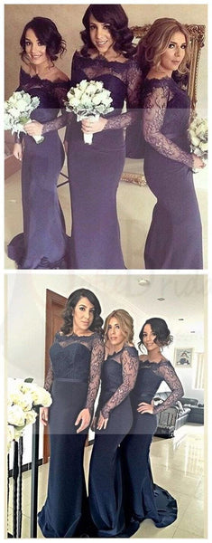 Sexy Long Sleeves Mermaid Lace Wedding Party Dress for Bridesmaids Wedding Guest Dresses, WG22