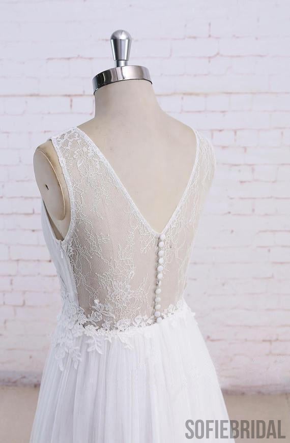 Sexy See Through Scoop Unique Lace Cheap Dresses For Wedding, WD395