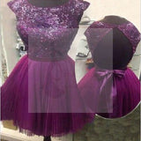 Short purple cap sleeve sparkly open back cocktail charming homecoming prom dresses BD00181