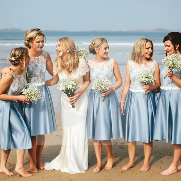 Popular Junior Short Pretty Blue Satin White Lace Bridesmaid Dresses for Beach Wedding