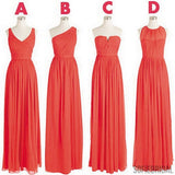 Cheap Simple Mismatched Styles Classic Formal Chiffon Floor-Length A Line Long Bridesmaid Dresses, WG182