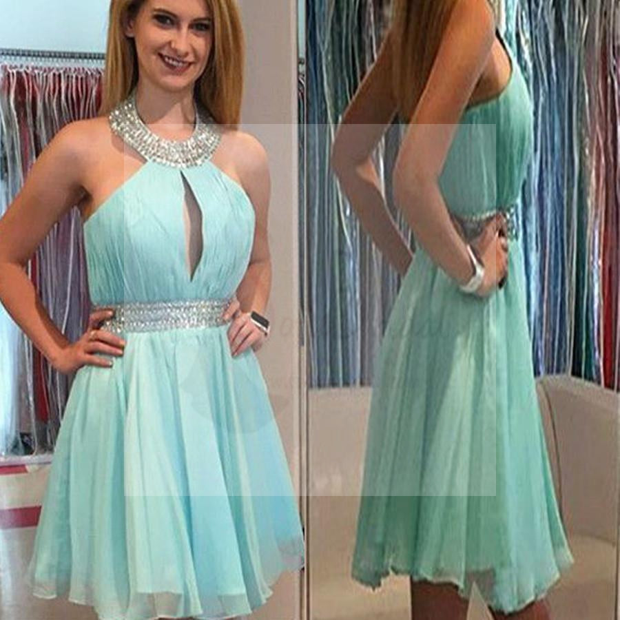 2017 High Neck Mint Green Chiffon Formal Homecoming Prom Dresses, SF0031
