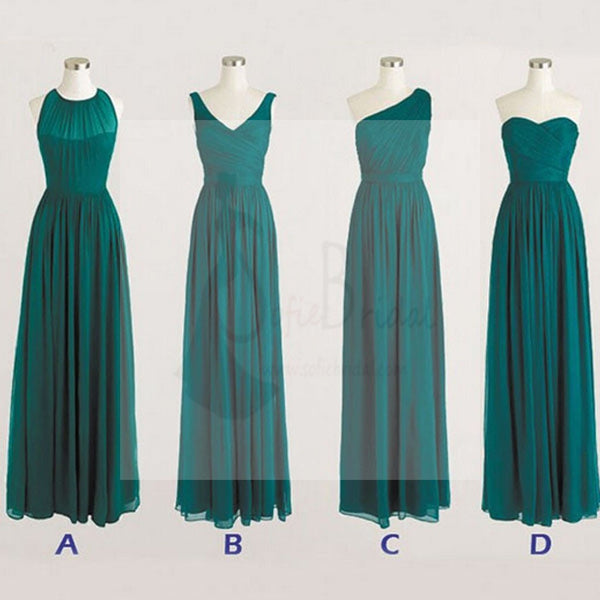 Best Sale Cheap Simple Mismatched Chiffon Full Length Teal Green Bridesmaid Dresses, WD0252