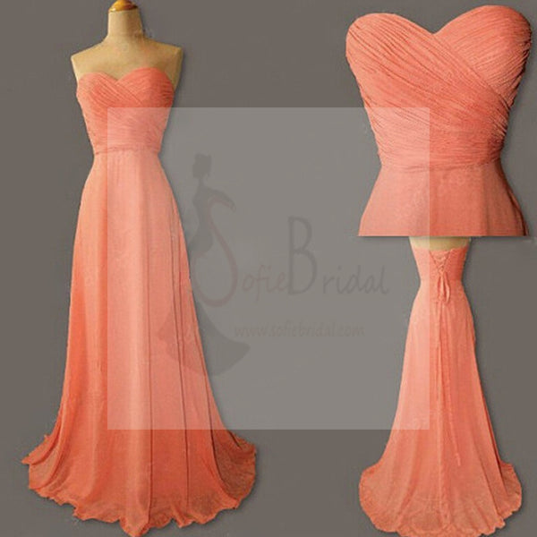 Junior Simple Sweetheart Chiffon Coral Lace Up Back Long Cheap Bridesmaid Dresses